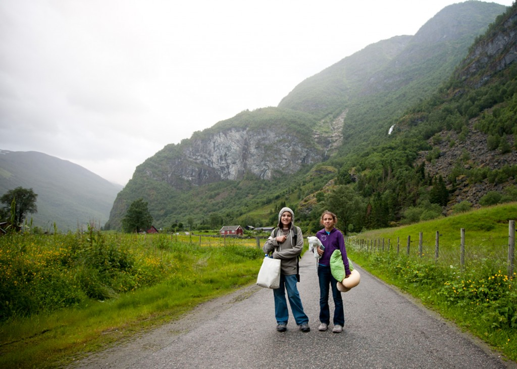 Our walk to hostel, Flam, Norway, Summer 2013